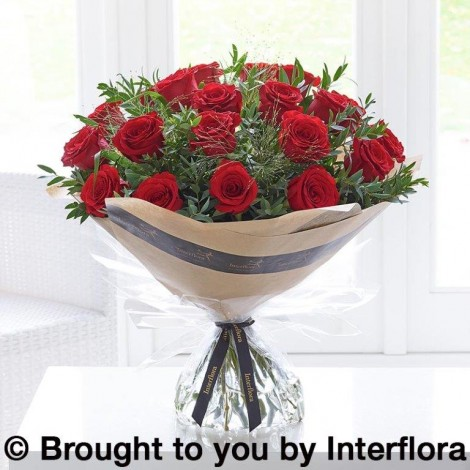 Valentine's red roses hand-tied made with premium roses