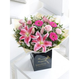 Pink Radiance Hand-tied With Congratulations Balloon