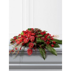 Rose Orchid and Anthurium Casket Spray