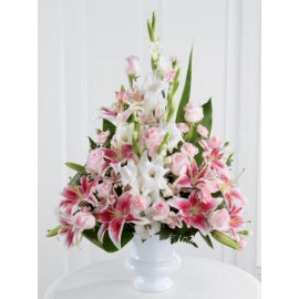 Pink Rose Lily and Gladioli Service Arrangement